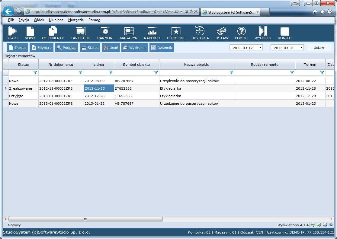 oprogramowanie cmms rejestr remontów