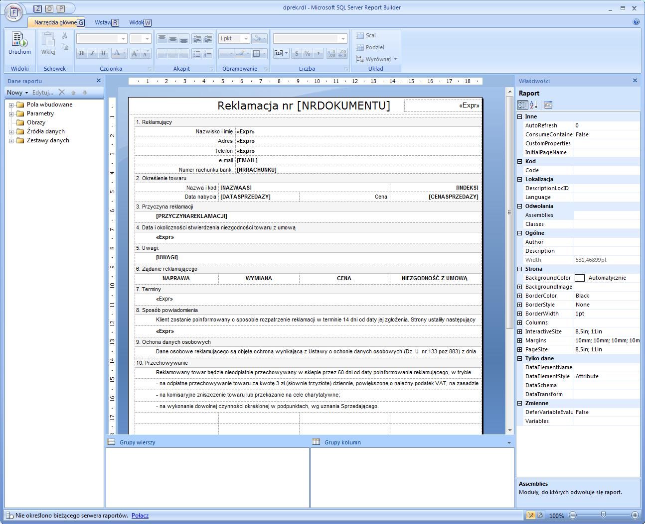 planowanie-raportu-projekt-dokumentu-reklamacji