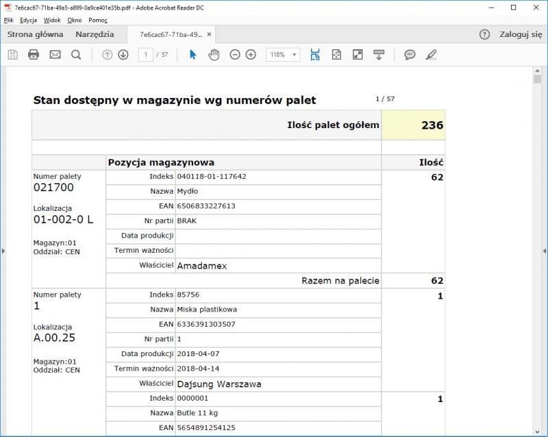 system WMS raport stan dostępny w magazynie