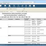 Dokumenty przyjęć palet wg daty, kontrahenta i platformy