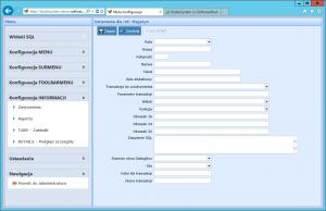konfiguracja informacji zestawienia formularz