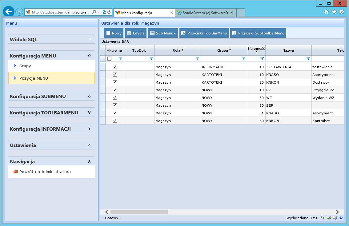 konfiguracja menu pozycje menu