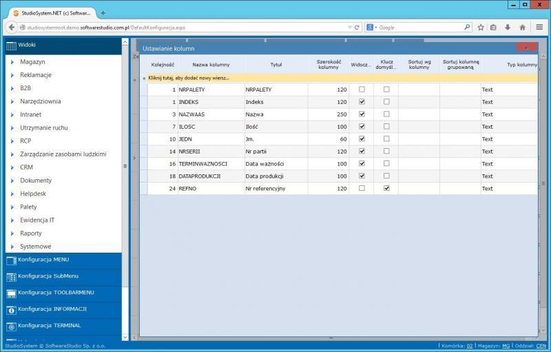 konfiguracja widoki SQL kolumny