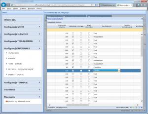 konfiguracja informacji combo jednostka miary 1