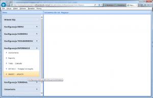 konfiguracja informacji insert update