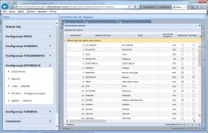 konfiguracja informacji insert update kolumny