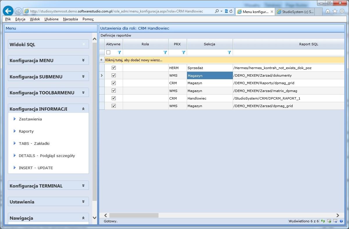 konfiguracja informacji raporty