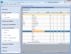 konfiguracja informacji separator