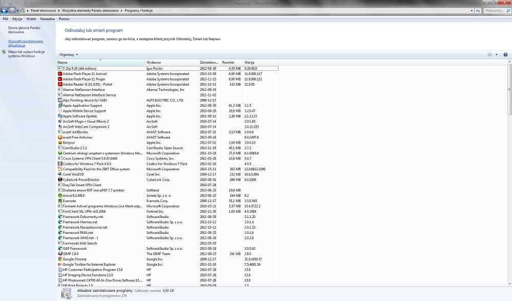 Zainstalowane aktualizacje Windows
