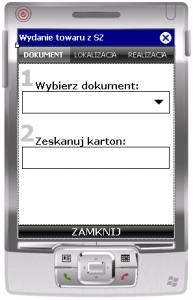 Okno transakcji ESM_WZ_SZ