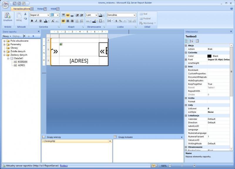 etykieta miejsca składowania projekt report builder