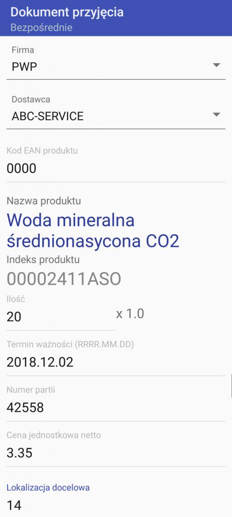 Android WMS przyjęcie bezpośrednie 2