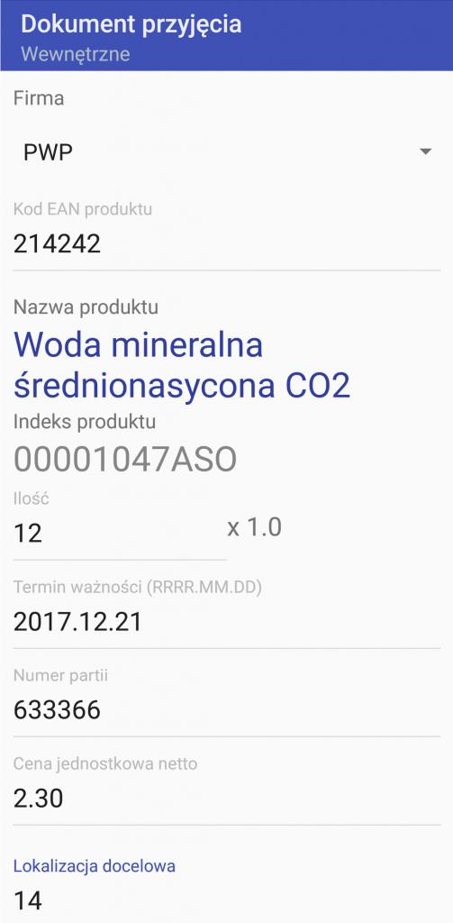 System Android WMS przyjęcie wewnętrzne 2
