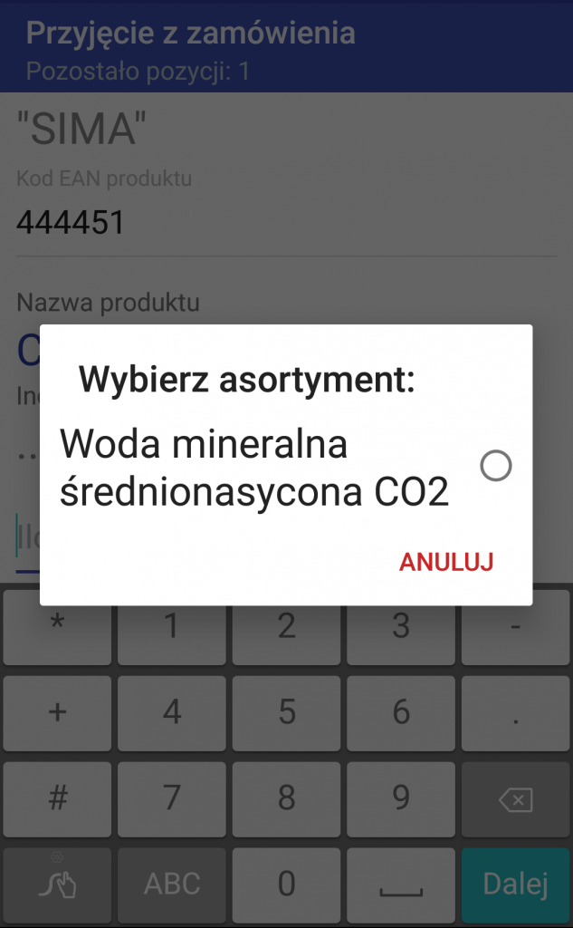 Android WMS przyjęcie zamówienie 3