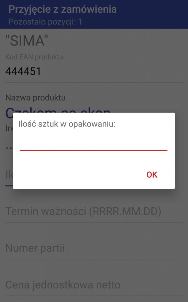 Android WMS przyjęcie zamówienie 4