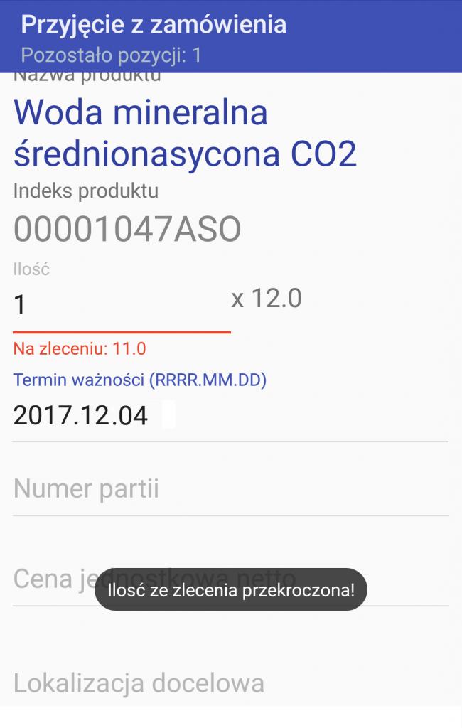 Android WMS przyjęcie zamówienie 5