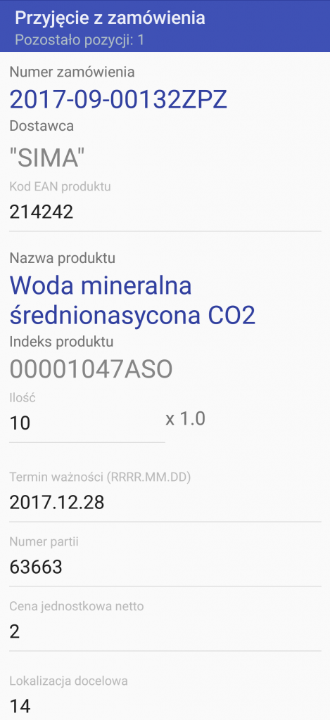 Android WMS przyjęcie zamówienie 6