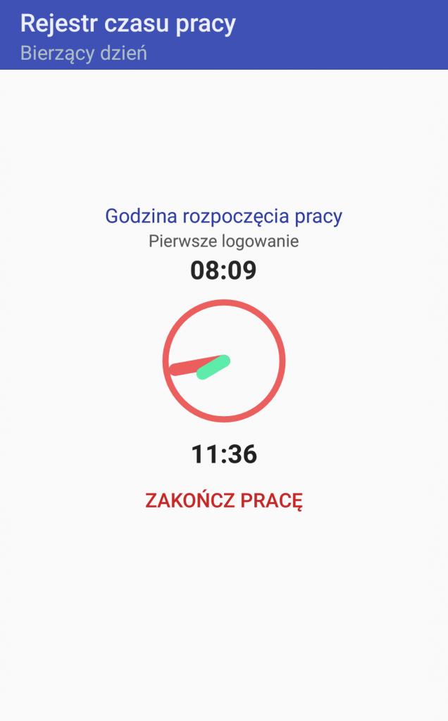 Android WMS rejestracja czasu pracy