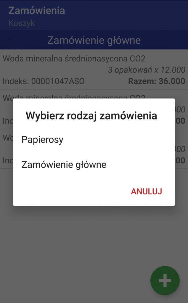 Android WMS składanie zamówień 2