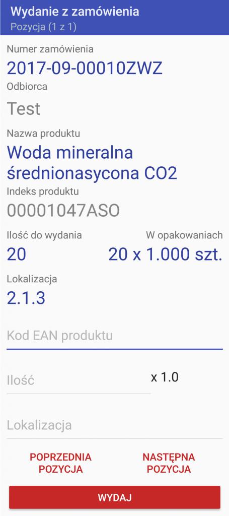 Android WMS wydanie zamówienie 2