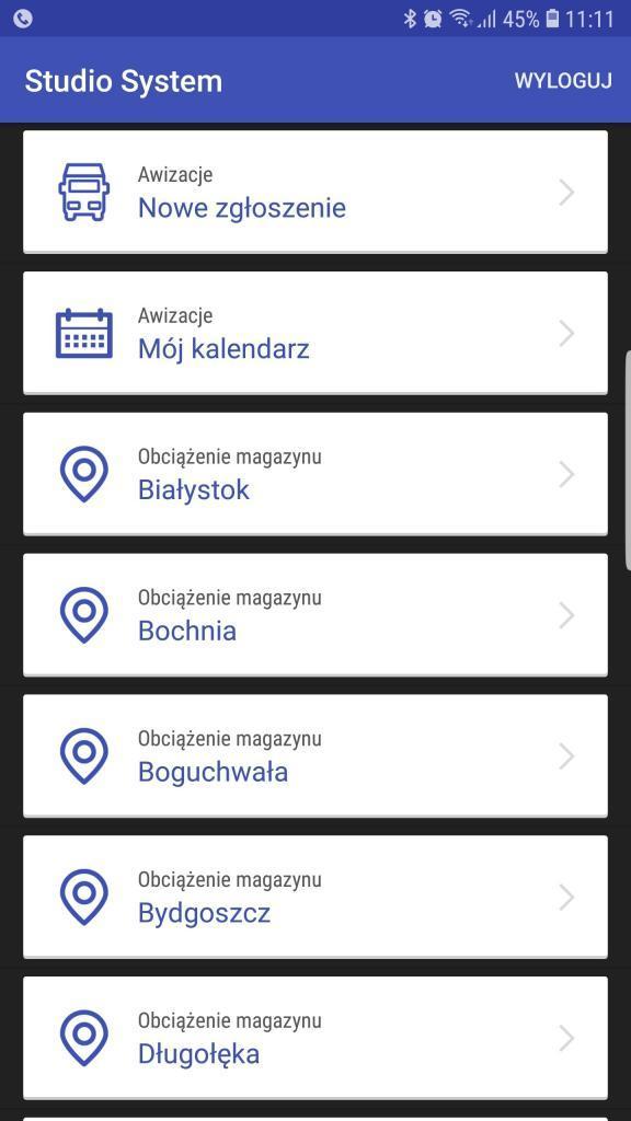 Awizacja Android menu